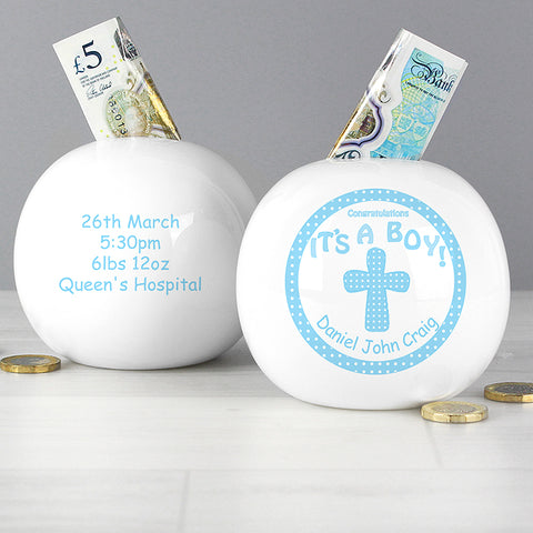 Buy Personalised Cross Its a Boy  Money Box