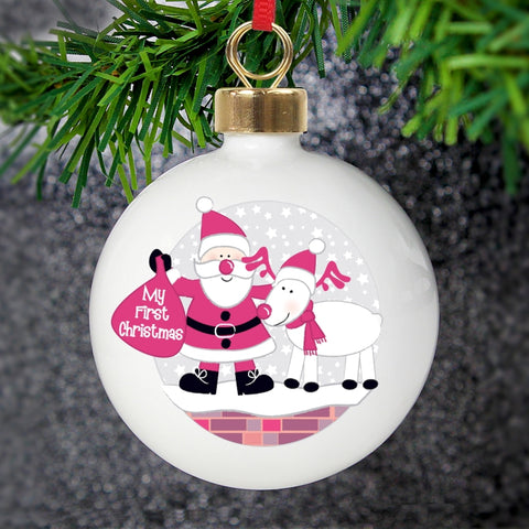 Personalised Rooftop Santa First Christmas Bauble | ShaneToddGifts.co.uk