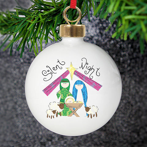 Buy Personalised Nativity Silent Night Bauble