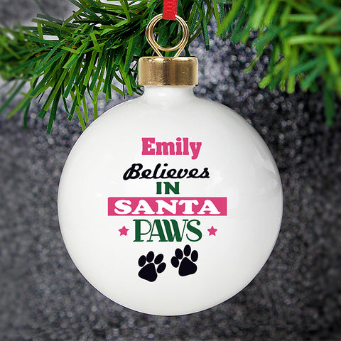 Buy Personalised Santa Paws Bauble