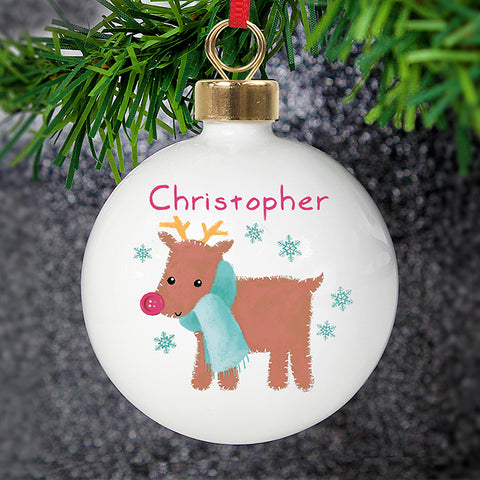 Personalised Felt Stitch Reindeer Bauble | ShaneToddGifts.co.uk
