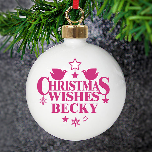 Personalised Christmas Wishes Bauble