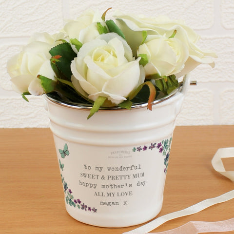 Buy Personalised Forget Me Not Porcelain Bucket