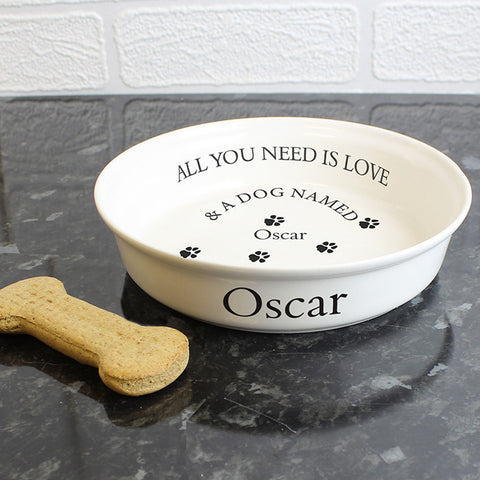 Personalised All You Need Is Love White Dog Bowl | ShaneToddGifts.co.uk