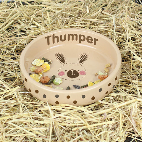 Personalised Rabbit Stitch Small Brown Rabbit Bowl | ShaneToddGifts.co.uk