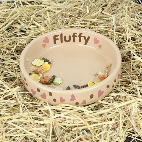 Buy Personalised Dotty Heart Small Brown Pet Bowl