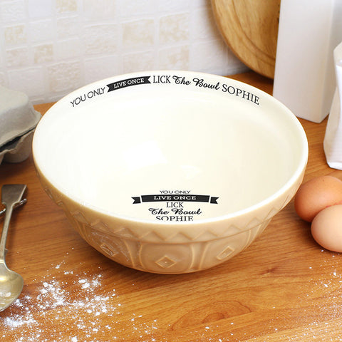 Personalised You Only Live Once... Baking Bowl | ShaneToddGifts.co.uk