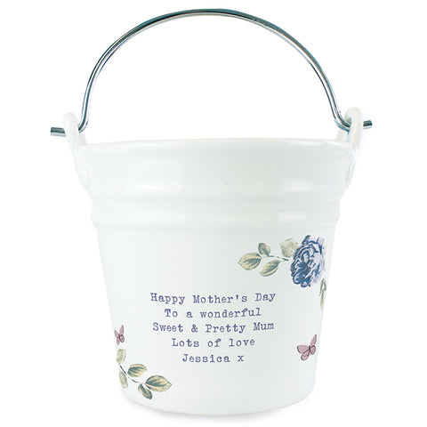 Personalised Secret Garden Porcelain Bucket - Any Message | ShaneToddGifts.co.uk