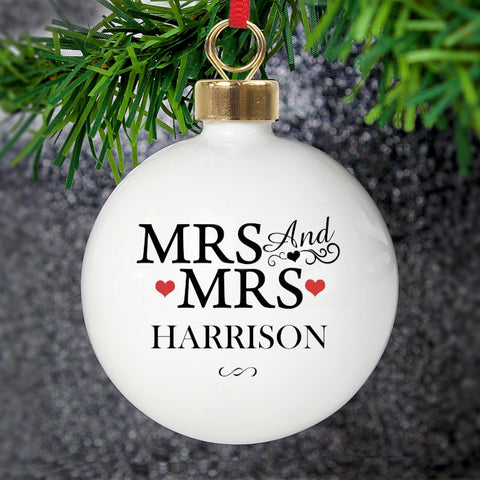 Personalised Mrs & Mrs Bauble