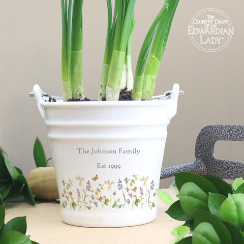 Buy Personalised Country Diary Wild Flowers Porcelain Bucket