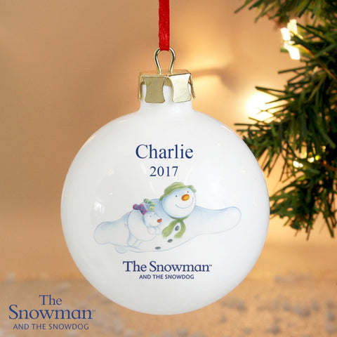 Buy Personalised The Snowman and the Snowdog Flying Bauble