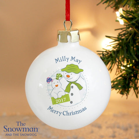 Buy Personalised The Snowman and the Snowdog Year Bauble
