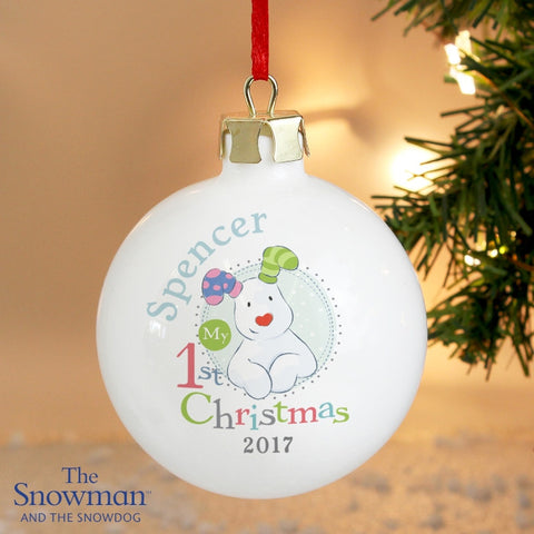Personalised The Snowman and the Snowdog My 1st Christmas Blue Bauble