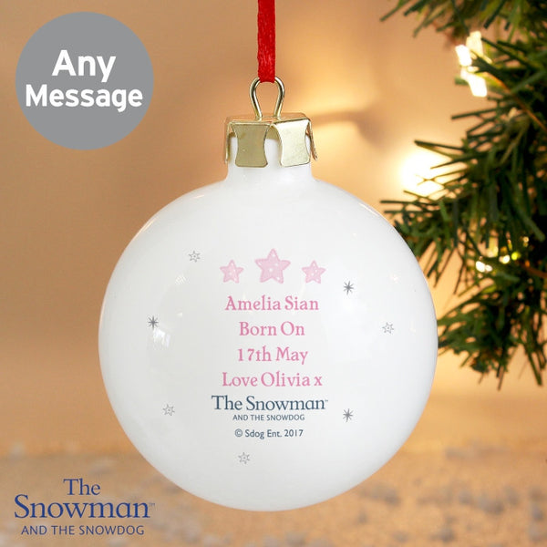 personalised-the-snowman-and-the-snowdog-my-1st-christmas-pink-bauble