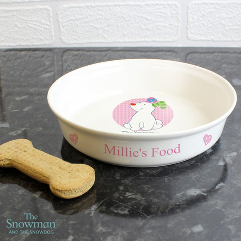 Buy Personalised The Snowdog Pink Dog Bowl