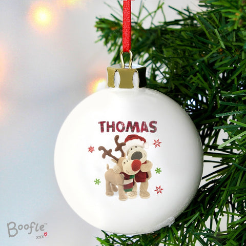 Buy Personalised Boofle Christmas Reindeer Bauble