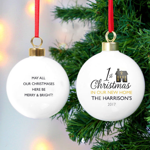 Personalised 1st Christmas in Our New Home Bauble - Shane Todd Gifts UK