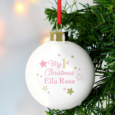 Buy Personalised Gold & Pink Stars My 1st Christmas Bauble