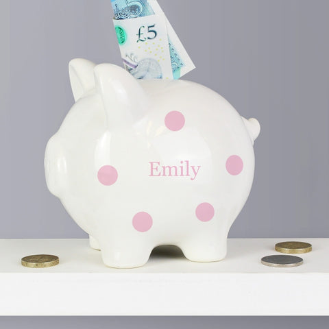 Buy Personalised Pink Polka Dot Piggy Bank
