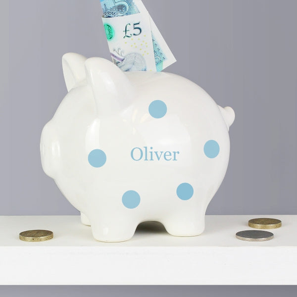Buy Personalised Blue Polka Dot Piggy Bank