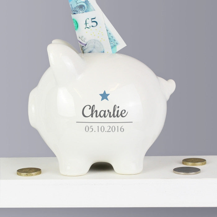 Buy Personalised Blue Star Motif Piggy Bank