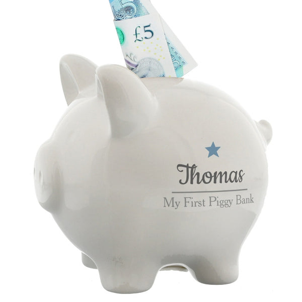 personalised-blue-star-motif-piggy-bank