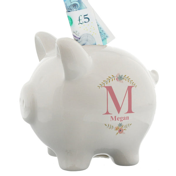 Personalised Floral Bouquet Piggy Bank - Shane Todd Gifts UK