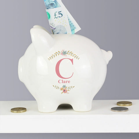 Buy Personalised Floral Bouquet Piggy Bank