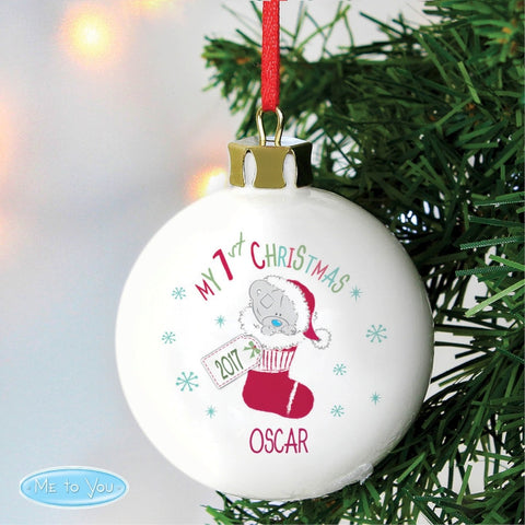 Buy Personalised Tiny Tatty Teddy My 1st Christmas Stocking Bauble
