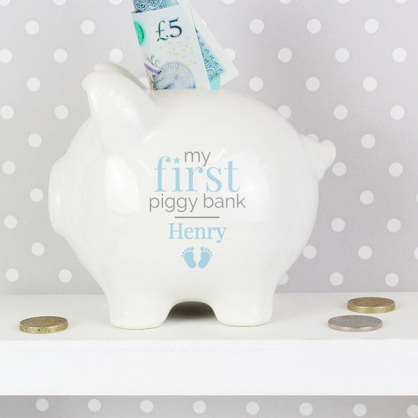 Buy Personalised Blue My First Piggy Bank