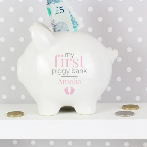 Buy Personalised Pink My First Piggy Bank
