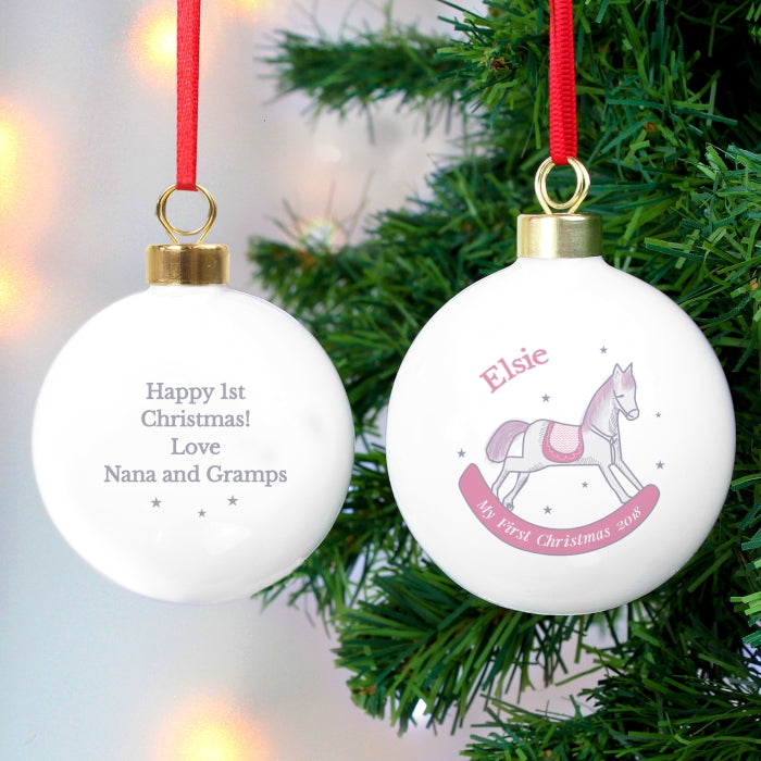 Buy Personalised 1st Christmas Pink Rocking Horse Bauble