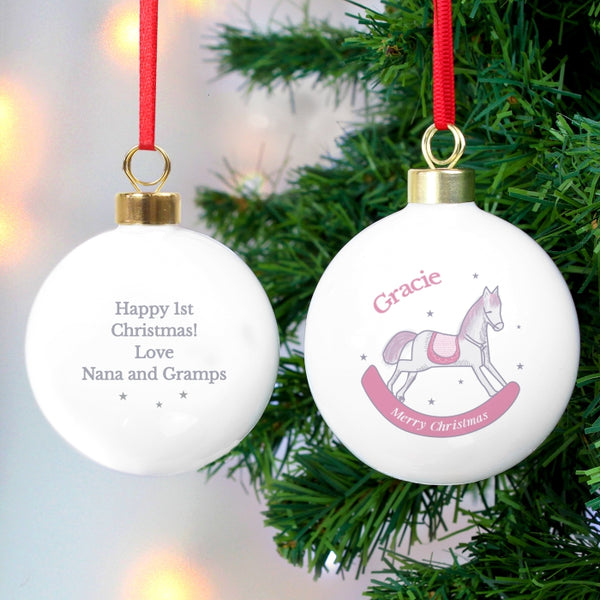 personalised-1st-christmas-pink-rocking-horse-bauble