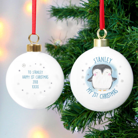 Buy Personalised 1st Christmas Pengiun Bauble