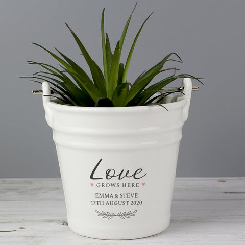 Personalised 'Love Grows Here' Porcelain Planter