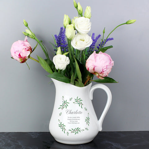 Personalised Eucalyptus Ceramic Flower Jug