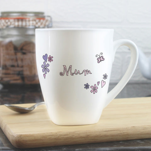 Buy Personalised Flowers and Butterflies Name Latte Mug