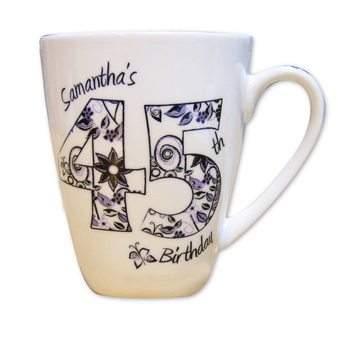 Personalised Numbers and Pattern Latte Mug