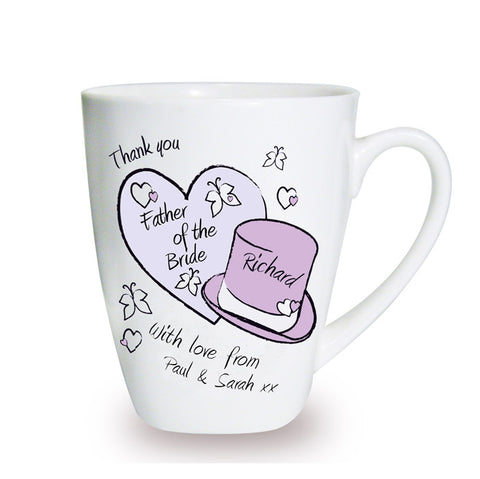 Personalised Butterfly Hats Wedding Latte Mug