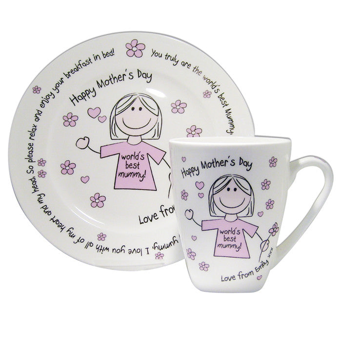 Personalised Worlds Best Mum T-shirt Breakfast in Bed Set - Shane Todd Gifts UK
