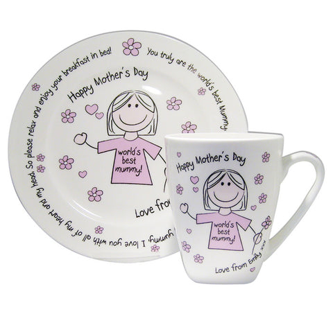 Buy Personalised Worlds Best Mum T-shirt Breakfast in Bed Set