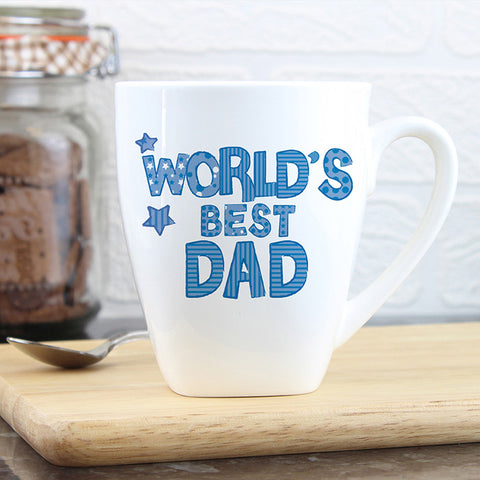 Personalised Patterns Worlds Best Blue Latte Mug