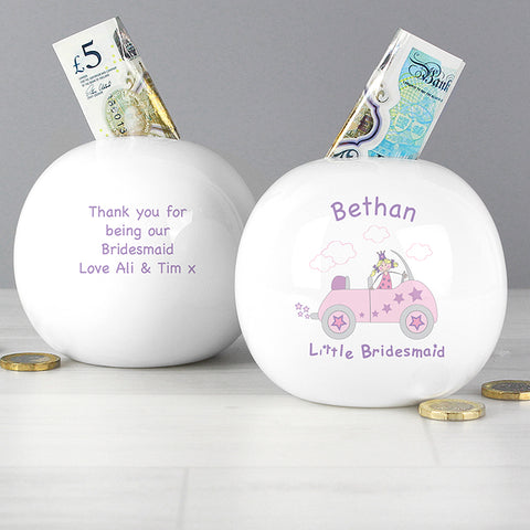 Buy Personalised Little Bridesmaid in Car Money Box