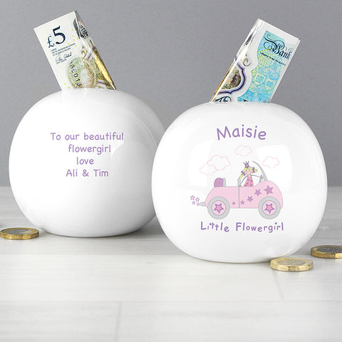 Personalised Little Flowergirl in Car Money Box