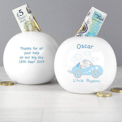 Buy Personalised Little Pageboy in Car Money Box