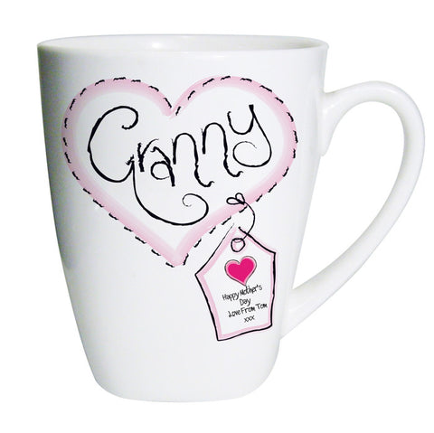 Buy Personalised Heart Stitch Granny Latte Mug