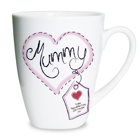 Buy Personalised Heart Stitch Mummy Latte Mug
