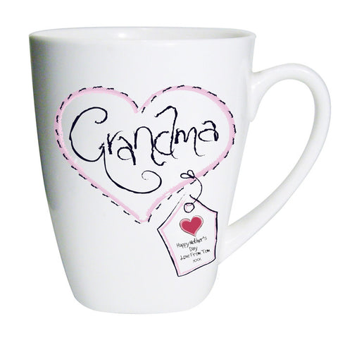 Buy Personalised Heart Stitch Grandma Latte Mug