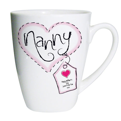 Personalised Heart Stitch Nanny Latte Mug