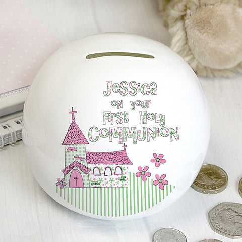 Buy Personalised Whimsical Church Pink 1st Holy Communion Money Box